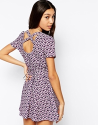 Influence Skater Dress With Cross Back In 70S Print Purple