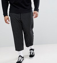 Reclaimed Vintage Inspired Plus Relaxed Cropped Trouser In Stripe Black