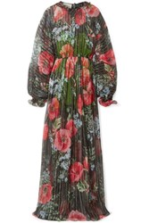 Gucci Floral Print Crinkled Silk Blend Chiffon Gown Black Usd
