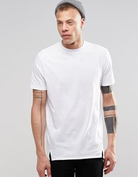 Asos Super Longline T Shirt With Curved Back Hem And Wide Neck Trim White