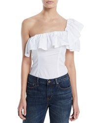 Kendall Kylie One Shoulder Ruffle Bodysuit White