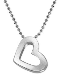 Alex Woo Heart Beaded Chain Pendant Necklace In Sterling Silver