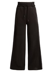 Off White Satin Trimmed Wide Leg Track Pants Black