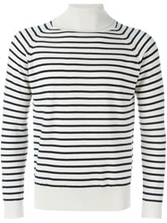 Marc Jacobs Striped Roll Neck Jumper Nude And Neutrals