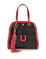 Buti Black Suede And Red Patent Leather Shoulder Bag