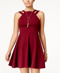 B. Darlin B Juniors' Strappy Scuba Fit And Flare Dress Dark Garnet
