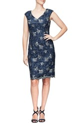 Alex Evenings Embroidered Dress Navy Gold
