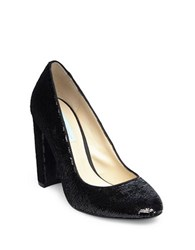 Betsey Johnson Sequined Block Heel Pumps Black