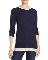 Bloomingdale's C By Color Block Double Crew Cashmere Sweater Dark Navy Frost