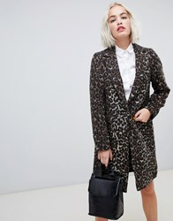 New Look Brushed Leopard Print Tailored Coat Brown Pattern