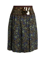 Kolor Geometric Print Satin Skirt Green Multi