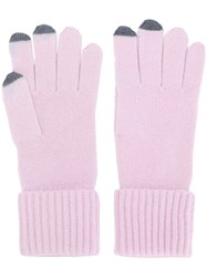 N.Peal Ribbed Gloves With Touch Screen Tips Pink And Purple
