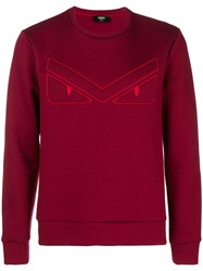 Fendi Eyes Embroided Sweatshirt Red