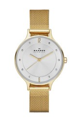 Skagen Women's 'Anita' Crystal Index Mesh Strap Watch 30Mm Gold