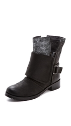 Luxury Rebel Shoes Lucy Fold Over Booties Black Grey