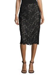 Rene Ruiz Sheer Lace Pencil Skirt Black