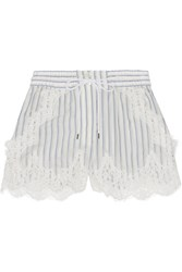 Sacai Lace Trimmed Striped Shell Shorts Off White