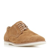 Bertie Basil Printed Suede Lace Up Gibson Shoes Tan