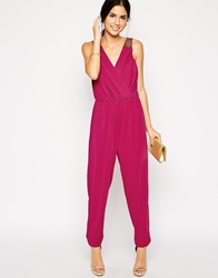 Little Mistress Wrap Front Jumpsuit With Embellished Shoulders Pink