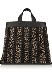 Tamara Mellon Sugar Daddy Suede Trimmed Leather And Calf Hair Tote Leopard Print