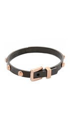 Michael Kors Two Tone Buckle Bangle Bracelet Rose Gold Black