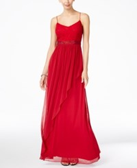 Adrianna Papell Spaghetti Strap Lace Gown Cherry