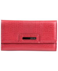Kenneth Cole Reaction Never Let Go Trifold Flap Clutch Wallet Red