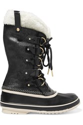 Sorel Joan Of Arctic Waterproof Shearling Trimmed Leather Boots Black