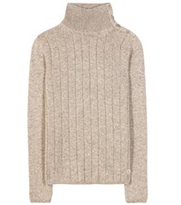 Loro Piana Boylston Cashmere Turtleneck Sweater Beige