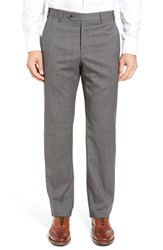 Zanella Men's Flat Front Check Wool Trousers Medium Grey