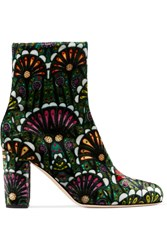 Brian Atwood Talise Printed Velvet Ankle Boots Emerald