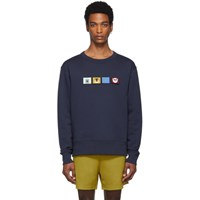 Acne Studios Navy Faircro Animal Face Sweatshirt