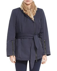 Halston Heritage Faux Fur Lined Wrap Coat Navy Shadow