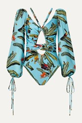 Patbo Cutout Printed Chiffon Trimmed Swimsuit Turquoise