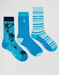 Original Penguin 3 Pack Socks Blue Pink