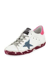 Golden Goose Superstar Paint Platform Leather Sneaker White Pink Purple