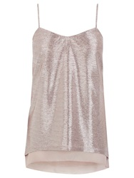 Oasis Square Foil Camisole Metallic Pale Pink