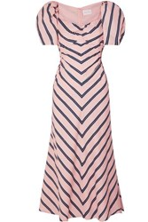 Alice Mccall At Last Cutout Striped Cotton Poplin Midi Dress Pink