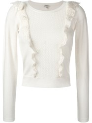 Manoush Cropped Ruffled Jumper White