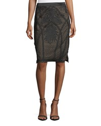 Goldie London Tribe Embroidered Mesh Pencil Skirt Black