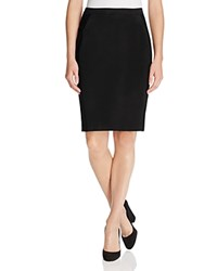Magaschoni Faux Suede Paneled Pencil Skirt Black