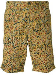 Incotex Floral Print Chinos Yellow Orange
