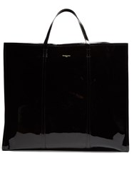 Balenciaga Bazar Extra Large Patent Leather Tote Black