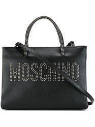 Moschino Studded Logo Tote Black