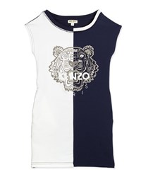 Kenzo Embroidered Colorblock Shift Dress Blue White