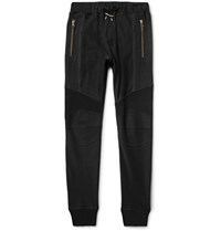 Balmain Slim Fit Tapered Cotton Jersey Sweatpants Black