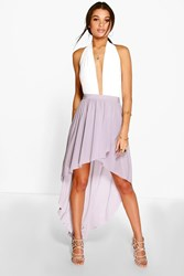 Boohoo Wrap Front Dipped Hem Maxi Skirt Grey