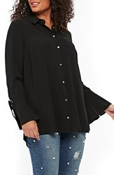 Evans Plus Size Lace Up Cuff Shirt