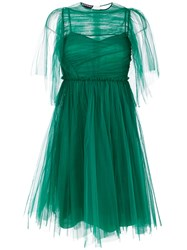 Rochas Pleated Maxi Dres Women Silk Polyamide 42 Green