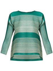 Pleats Please Issey Miyake Log Bounce Striped Tech Pleated Tunic Top Green